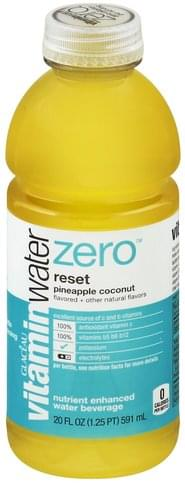 Vitaminwater Nutrient Enhanced, Reset, Pineapple Coconut Water Beverage - 20 oz