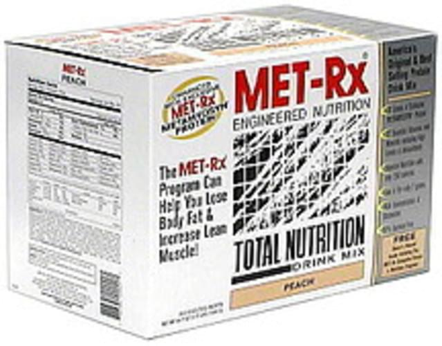 MET Rx Peach Total Nutrition Drink Mix - 20 ea