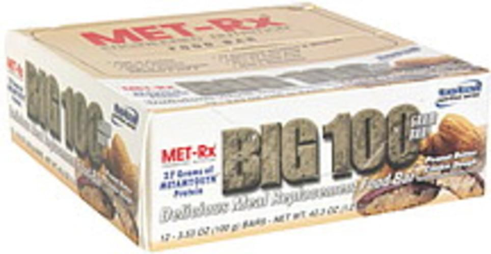 MET Rx Peanut Butter Cookie Dough Delicious Meal Replacement Food Bar - 12 ea