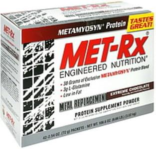 MET Rx Protein Supplement Powder Meal Replacement, Extreme Chocolate