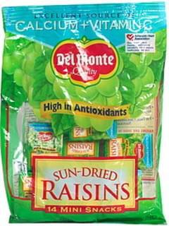 Del Monte Raisins, Sun-Dried, Mini Snacks