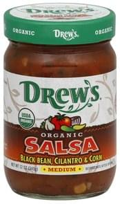 Drews Salsa Organic, Black Bean, Cilantro & Corn, Medium