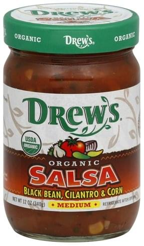 Drews Organic, Black Bean, Cilantro & Corn, Medium Salsa - 12 oz