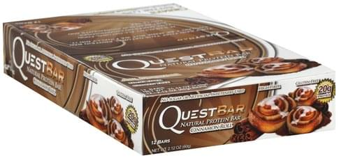 Quest Bar Natural, Cinnamon Roll Protein Bars - 12 ea