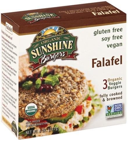 Sunshine Burgers Falafel Veggie Burgers - 3 ea