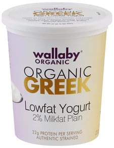Wallaby Yogurt Greek, Lowfat, Organic, Authentic Strained, Plain