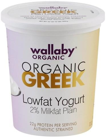 Wallaby Greek, Lowfat, Organic, Authentic Strained, Plain Yogurt - 32 oz