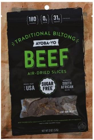 Ayoba Yo Air-Dried, Traditional Biltong, Slices Beef - 2 oz