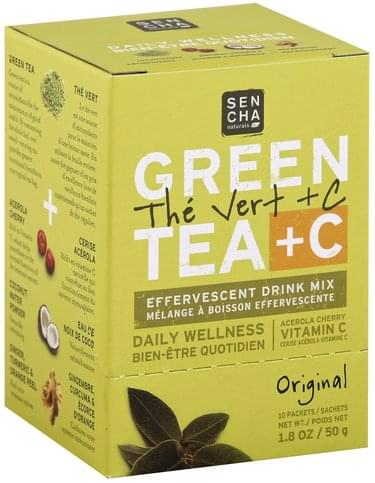 Sencha Naturals Effervescent, Green Tea + C, Original Drink Mix - 10 ea