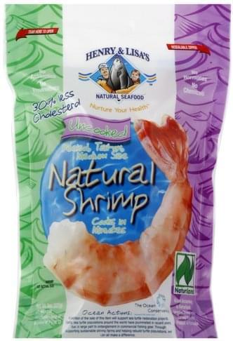 Henry & Lisas Uncooked, Peeled, Tail-on, Medium Size Natural Shrimp - 8 oz