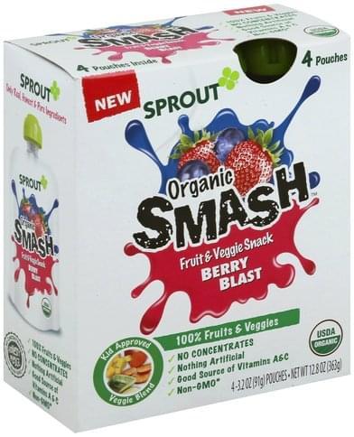 Sprout Organic Smash, Berry Blast Fruit & Veggie Snack - 4 ea