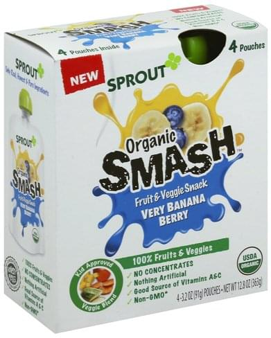 Sprout Organic Smash, Very Banana Berry Fruit & Veggie Snack - 4 ea