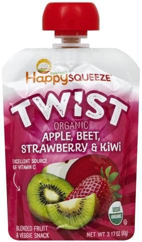 Happy Squeeze Organic, Apple, Beet, Strawberry & Kiwi Blended Fruit & Veggie Snack - 3.17 oz