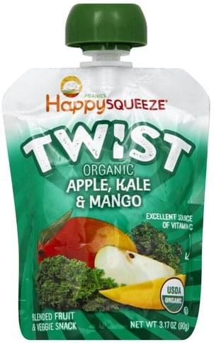 Happy Squeeze Organic, Apple, Kale & Mango Blended Fruit & Veggie Snack - 3.17 oz