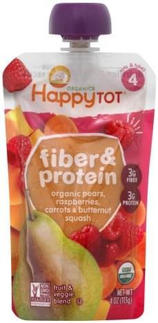 Happy Tot Fiber & Protein, Tots & Tykes 4 Fruit & Veggie Blend - 4 oz