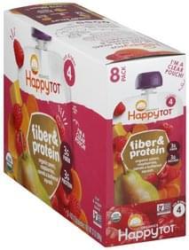 Happy Tot Fruit & Veggie Blend Organic, Pears, Raspberries, Carrots & Butternut, Squash, 4 (Tots & Tykes), 8 Pack