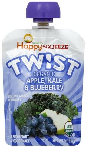 Happy Squeeze Organic, Apple, Kale & Blueberry Blended Fruit & Veggie Snack - 3.17 oz