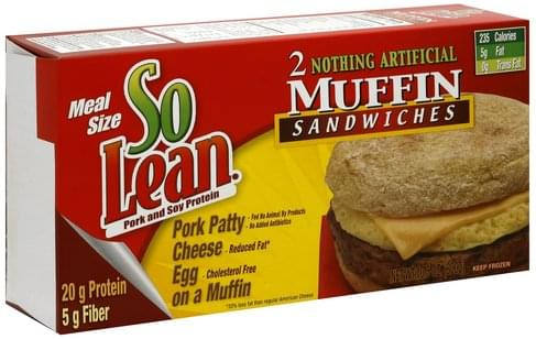 So Lean Meal Size Muffin Sandwiches - 2 ea