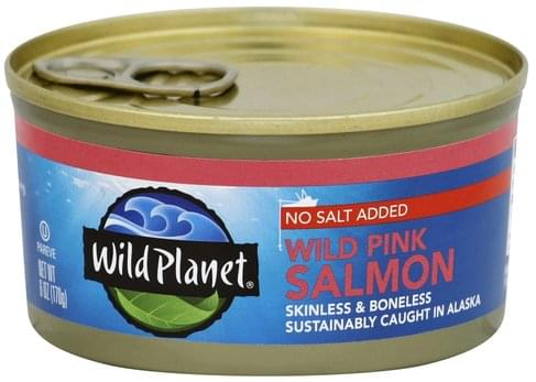 Wild Planet No Salt Added, Wild Pink Salmon - 6 oz