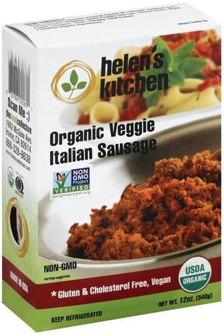 Helens Kitchen Organic, Veggie, Italian Sausage - 12 oz