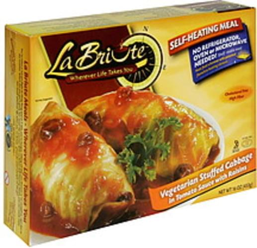 La Briute Vegetarian Stuffed Cabbage in Tomato Sauce with Raisins Self-Heating Meal - 16 oz