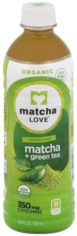 Matcha Love Unsweetened, Organic Matcha + Green Tea - 16.9 oz
