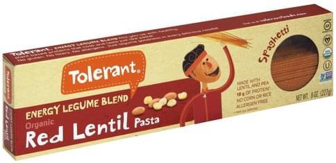 Tolerant Red Lentil, Organic, Energy Legume Blend, Spaghetti Pasta - 8 oz