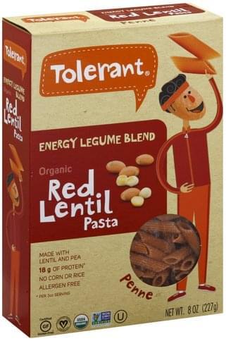 Tolerant Organic, Red Lentil Pasta Penne - 8 oz