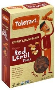 Tolerant Pasta Red Lentil, Organic, Energy Legume Blend, Rotini