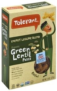 Tolerant Pasta Green Lentil, Organic, Energy Legume Blend, Rotini