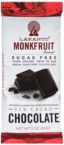 Lakanto Monkfruit, Sugar Free, 55% Cacao Chocolate Bar - 3 oz