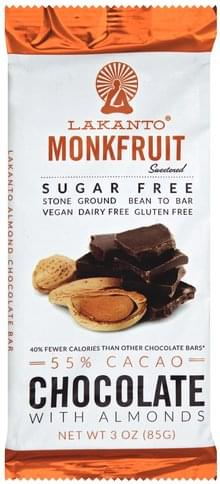 Lakanto with Almonds, Monkfruit, Sugar Free, 55% Cacao Chocolate Bar - 3 oz