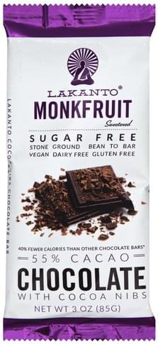 Lakanto with Cocoa Nibs, Monkfruit, Sugar Free, 55% Cacao Chocolate Bar - 3 oz