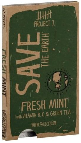 Project 7 Enhanced, Save the Earth, Fresh Mint Gum - 12 ea