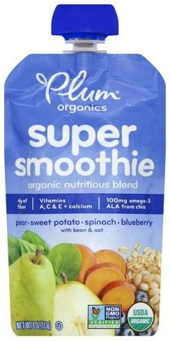 Plum Pear, Sweet Potato, Spinach, Blueberry Super Smoothie - 4 oz