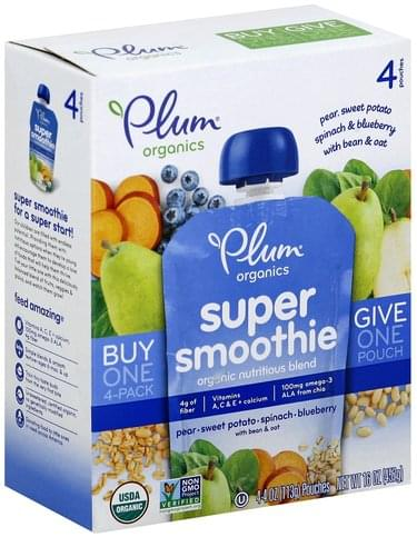 Plum Pear, Sweet Potato, Spinach & Blueberry with Bean & Oat Super Smoothie - 4 ea