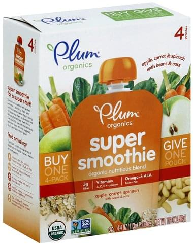 Plum Apple, Carrot, Spinach with Beans & Oats Super Smoothie - 4 ea
