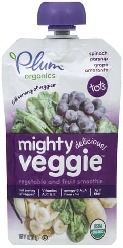 Plum Mighty Veggie, Spinach, Parsnip, Grape, Amaranth Vegetable and Fruit Smoothie - 4 oz
