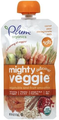 Plum Mighty Veggie, Carrot, Pear, Pomegranate, Oats Vegetable and Fruit Smoothie - 4 oz