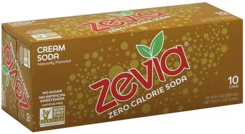 Zevia Zero Calorie, Cream Soda - 10 ea