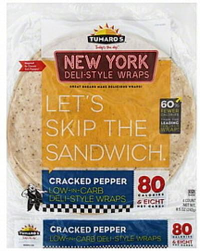 Tumaros New York Deli-Style, Cracked Pepper Wraps - 4 ea