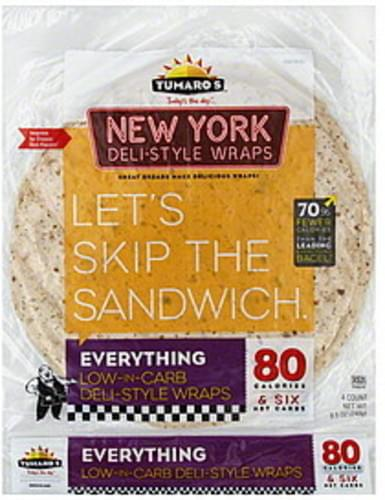 Tumaros New York Deli-Style, Everything Wraps - 4 ea
