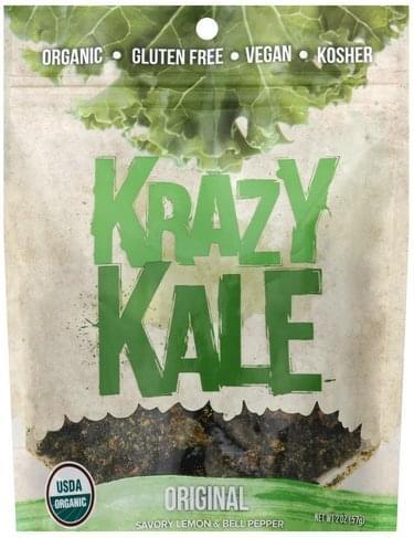 Krazy Kale Original, Savory Lemon & Bell Pepper Kale Chips - 2 oz