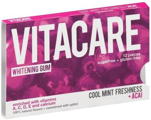 Vitacare Sugarfree, Whitening, Cool Mint Freshness + Acai Gum - 12 ea