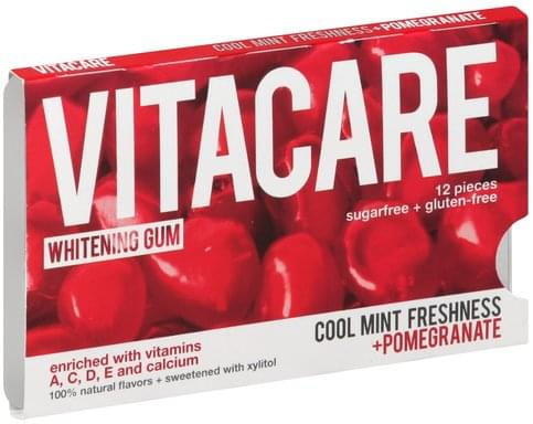 Vitacare Sugarfree, Whitening, Cool Mint Freshness + Pomegranate Gum - 12 ea