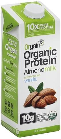 Orgain Unsweetened, Vanilla Almondmilk - 32 oz