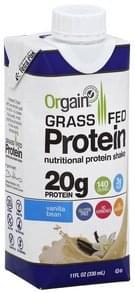 Orgain Protein Shake Grass Fed, Vanilla Bean