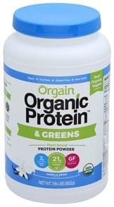 Orgain Protein Powder & Greens, Vanilla Bean Flavor