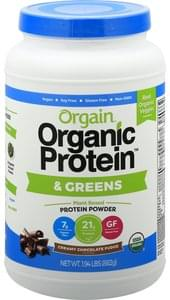 Orgain Protein Powder & Greens, Creamy Chocolate Fudge Flavor