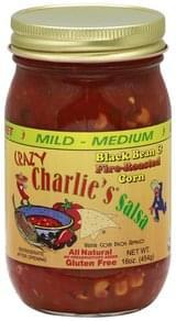 Crazy Charlies Salsa Black Bean & Fire-Roasted Corn, Mild-Medium